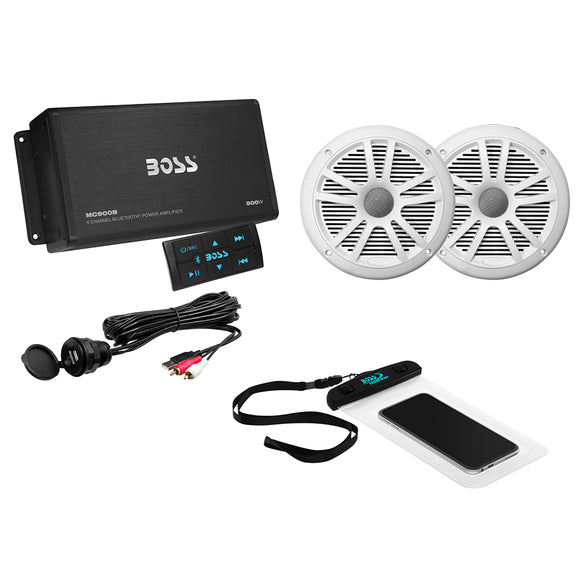 Boss Audio ASK902B.6 Package w/4-Channel Bluetooth Amplifier w/Remote, 2 MR6W 6.5