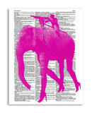 "Pink Elephant 8.5""x11"" Dictionary Art Print"