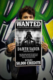"Star Wars - WANTED FOR TREASON - Darth Vader 13""x22"" Vintage Style Showprint Poster - Concert Bill - Home Nostalgia Decor Wall Art Print"