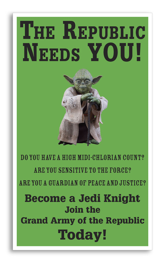 "Star Wars - Yoda - The Republic Needs You 13""x22"" Vintage Style Showprint Poster - Concert Bill - Home Nostalgia Decor Wall Art Print"