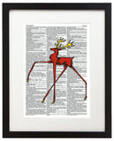 "Wacky Red Stag 8.5""x11"" Semi Translucent Dictionary Art Print - Neckahneck Artist Edition"