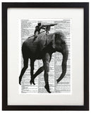"Black Elephant 8.5""x11"" Semi Translucent Dictionary Art Print"