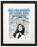 "Young & Beautiful 8.5""x11"" Semi Translucent Dictionary Art Print"