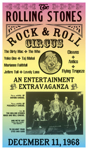 "Rolling Stones Rock and Roll Circus – Featuring The Who – Yoko Ono – Jethro Tull 13""x22"" Vintage Style Show Print Poster – Concert Bill – Home Nostalgia Decor"