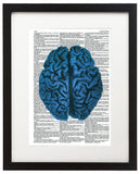 "Blue Brain 8.5""x11"" Semi Translucent Dictionary Art Print"