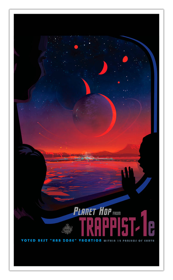 "Planet Hop from Trappist-1e 13""x22"" Vintage Style Showprint Poster - Concert Bill - Home Nostalgia Decor Wall Art Print"