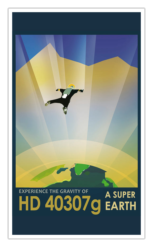 "Experience the Gravity of HD 40307g A Super Earth 13""x22"" Vintage Style Showprint Poster - Concert Bill - Home Nostalgia Decor Wall Art Print"