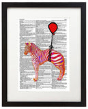"Floating Zebra 8.5""x11"" Semi Translucent Dictionary Art Print"