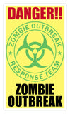 "Danger Zombie Outbreak (Yellow) 13""x22"" Vintage Style Showprint Poster - Concert Bill - Home Nostalgia Decor Wall Art Print"