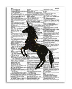 "Space Unicorn 8.5""x11"" Semi Translucent Dictionary Art Print"