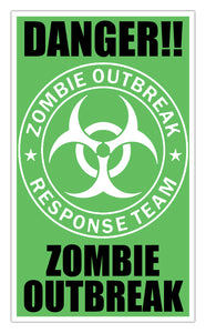"Danger Zombie Outbreak (Green) 13""x22"" Vintage Style Showprint Poster - Concert Bill - Home Nostalgia Decor Wall Art Print"