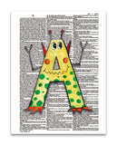 "Alpha Set 1-A 8.5""x11"" Semi Translucent Dictionary Art Print"
