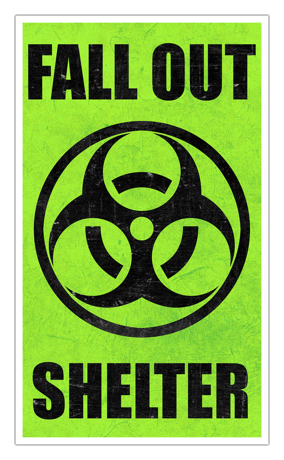 "Fallout Shelter Green 13""x22"" Vintage Style Showprint Poster - Concert Bill - Home Nostalgia Decor Wall Art Print"