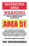 "area 51 warning sign restricted area 13"" by 22"" vintage style show print poster"