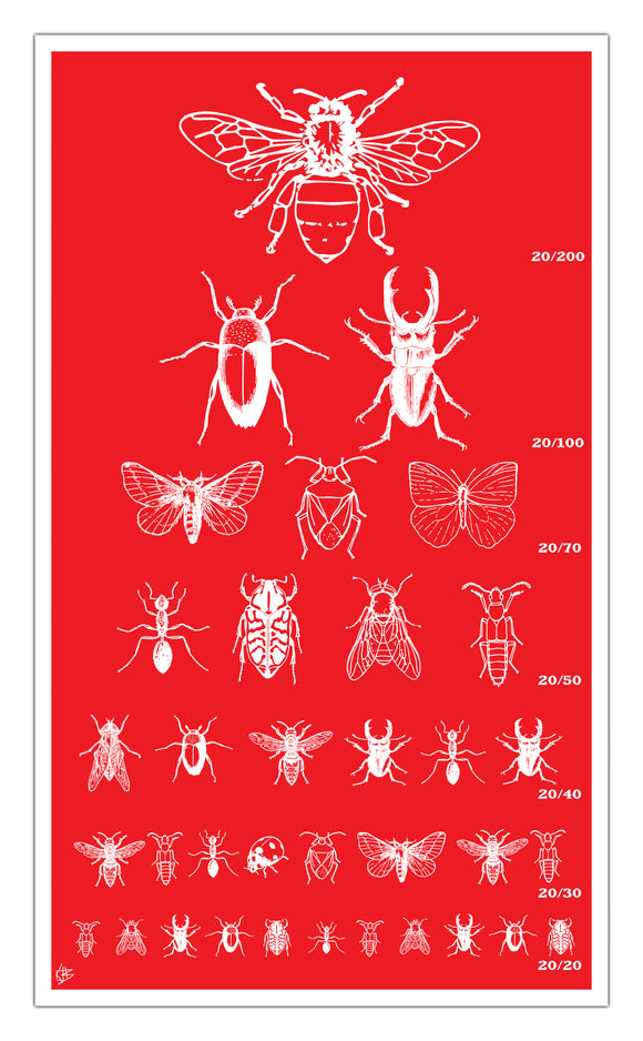 "Red Insect Seeing Eye Chart 13""x22"" Vintage Style Showprint Poster - Home Nostalgia Decor Wall Art Print - Kristy Joyce Artist Edition"