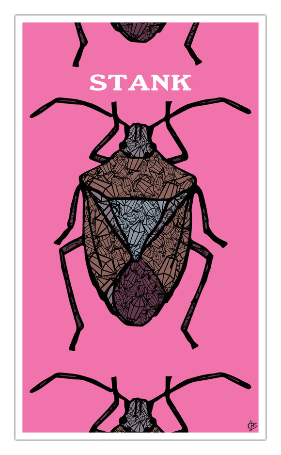 "Stink Bug Pink Stank 13""x22"" Vintage Style Showprint Poster - Home Nostalgia Decor Wall Art Print - Kristy Joyce Artist Edition"