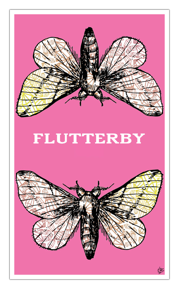 "Pink Flutterby 13""x22"" Vintage Style Showprint Poster - Home Nostalgia Decor Wall Art Print - Kristy Joyce Artist Edition"