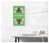"Green Flutterby 13""x22"" Vintage Style Showprint Poster - Home Nostalgia Decor Wall Art Print - Kristy Joyce Artist Edition"