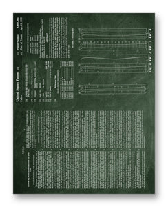 "Alpine Ski Patent 2 11"" x 14"" Mono Tone Print (Choose Your Color)"