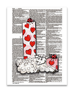 "Alpha Set 2-L 8.5""x11"" Semi Translucent Dictionary Art Print"