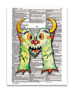 "Alpha Set 2-M 8.5""x11"" Semi Translucent Dictionary Art Print"