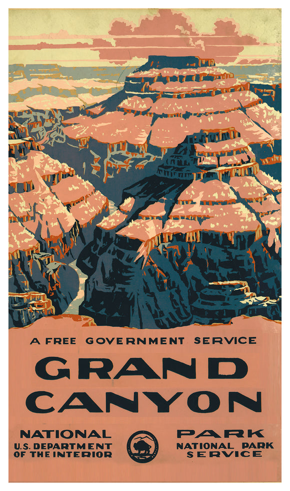 "United States Department of the Interior - National Park Service – The Grand Canyon - 13""x22"" Vintage Style Showprint Poster - Home Decor – Wall Art Print"