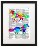"Painted Horses 8.5""x11"" Semi Translucent Dictionary Art Print"