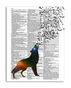 "Cosmic Wolf & Butterflies 8.5""x11"" Semi Translucent Dictionary Art Print"