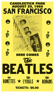 "Here Comes The Beatles - San Francisco - Candlestick Park 13""x22"" Vintage Style Showprint Poster - Concert Bill - Home Nostalgia Decor Wall Art Print"