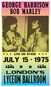 "George Harrison & Bob Marley 13""x22"" Vintage Style Showprint Poster - Concert Bill - Home Nostalgia Decor Wall Art Print"