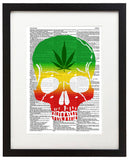 "Marijuana Skull 8.5""x11"" Semi Translucent Dictionary Art Print"