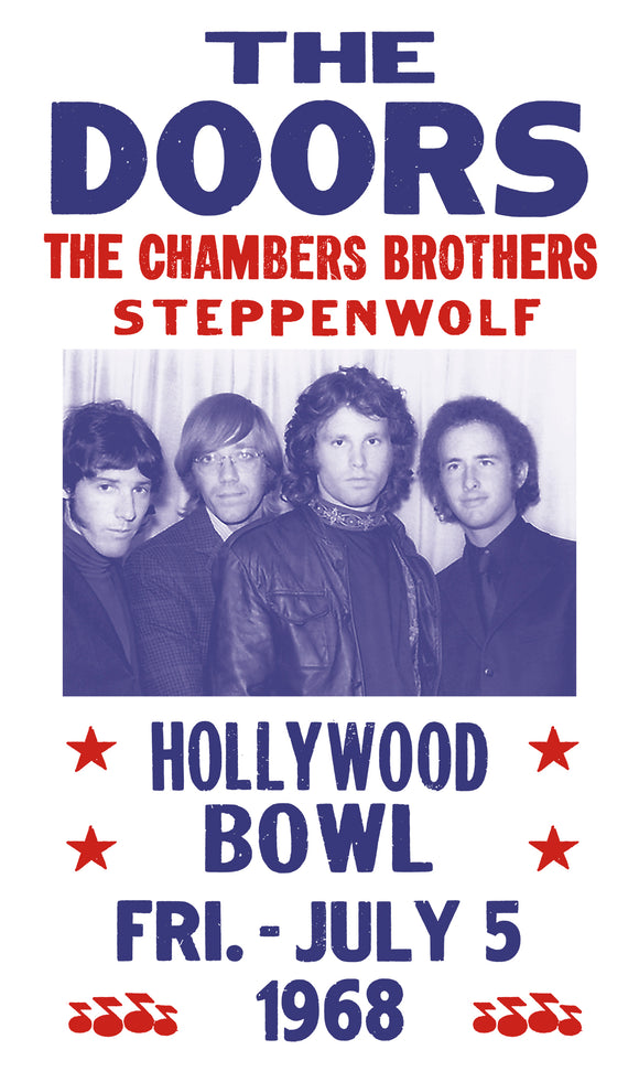 "The Doors - Chambers Brothers - Steppenwolf - Hollywood Bowl 13""x22"" Vintage Style Showprint Poster - Concert Bill - Home Nostalgia Decor Wall Art Print"