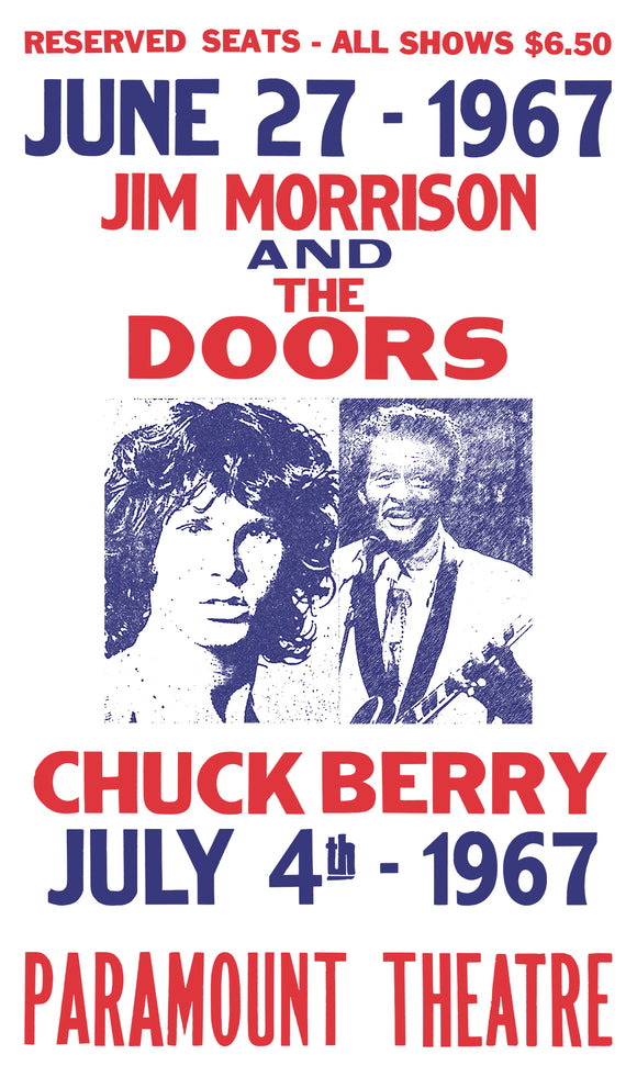 "Jim Morrison and The Doors - Chuck Berry - Paramount Theatre 13""x22"" Vintage Style Showprint Poster - Concert Bill - Home Nostalgia Decor Wall Art Print"