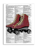 "Roller Skates 8.5""x11"" Semi Translucent Dictionary Art Print"