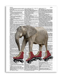 "Roller Skating Elephant 8.5""x11"" Semi Translucent Dictionary Art Print"
