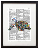 "Jewelled Sea Turtle 8.5""x11"" Semi Translucent Dictionary Art Print"