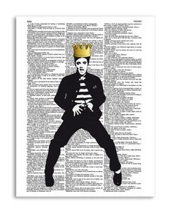 "Crowned Elvis 8.5""x11"" Semi Translucent Dictionary Art Print"
