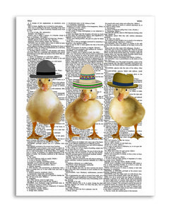 "Ducklings in Hats 8.5""x11"" Semi Translucent Dictionary Art Print"