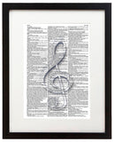 "Treble Clef 8.5""x11"" Semi Translucent Dictionary Art Print"