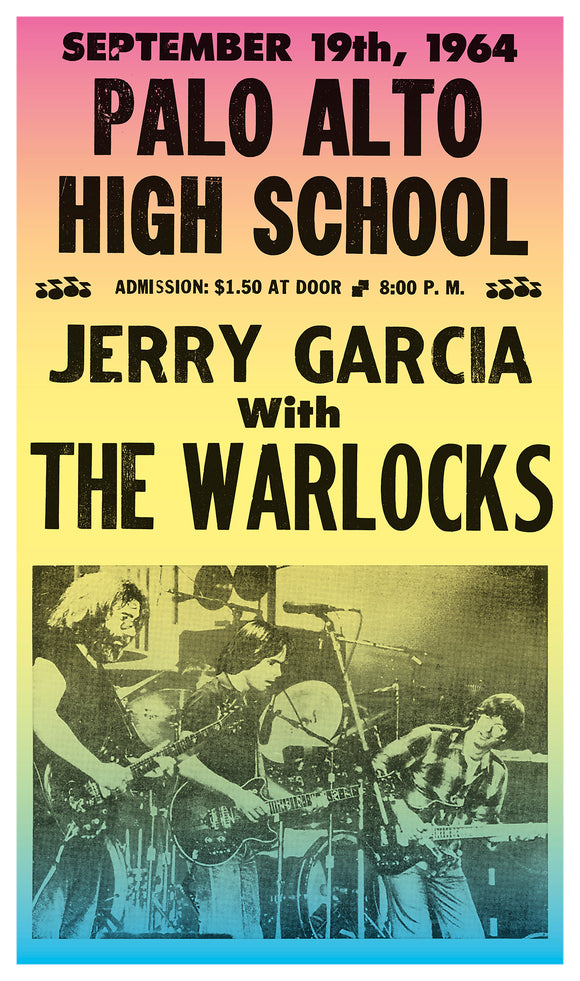 "Jerry Garcia with The Warlocks - Palo Alto High School - 13""x22"" Vintage Style Showprint Poster - Home Nostalgia Decor – Wall Art Print – Concert Bill"