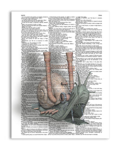 "Steampunk Snail 8.5""x11"" Semi Translucent Dictionary Art Print"