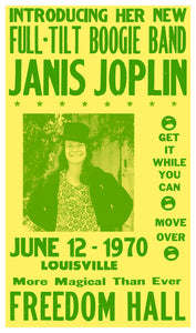 "Janis Joplin - Freedom Hall - 13""x22"" Vintage Style Showprint Poster - Home Nostalgia Decor – Wall Art Print – Concert Bill"