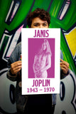 "Janis Joplin Nude - 13""x22"" Vintage Style Showprint Poster - Home Nostalgia Decor – Wall Art Print – Concert Bill"