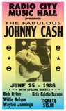 "The Fabulous Johnny Cash – Radio City Music Hall – 13""x22"" Vintage Style Showprint Poster - Home Nostalgia Decor – Wall Art Print – Concert Bill"