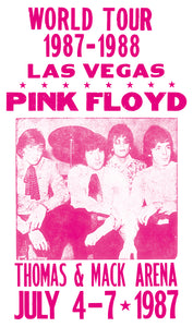 "World Tour Las Vegas - Pink Floyd - Thomas & Mack Arena - 13""x22"" Vintage Style Showprint Poster - Home Nostalgia Decor – Wall Art Print - Concert Bill"