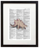 "Stegosaurus Drawing 8.5""x11"" Semi Translucent Dictionary Art Print"
