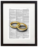"Commitment Rings 8.5""x11"" Semi Translucent Dictionary Art Print"