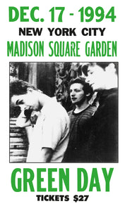 "Green Day - Madison Square Garden New York City - 13""x22"" Vintage Style Showprint Poster - Home Nostalgia Decor – Wall Art Print - Concert Bill"