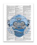 "Blue Monkey 8.5""x11"" Semi Translucent Dictionary Art Print"