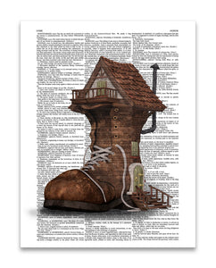 "Shoe Home 8.5""x11"" Semi Translucent Dictionary Art Print"